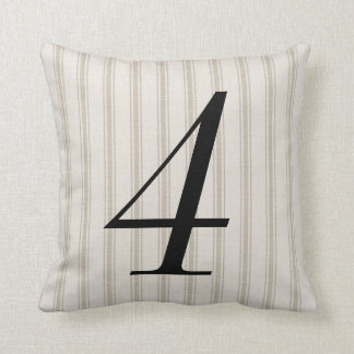 Farmhouse Beige Linen Ticking Stripes Number Cushion