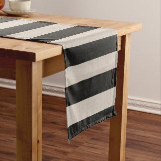 Farmhouse Black Linen Stripes Monogram Short Table Runner