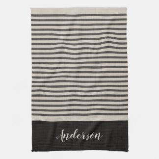 Farmhouse Black Linen Stripes Monogram Tea Towel