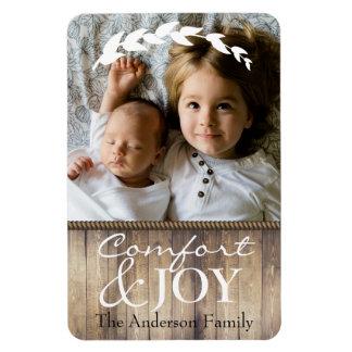 Farmhouse Comfort & JOY Family Photo & Name Rectangular Photo Magnet