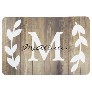 Farmhouse Country Wood White Laurels Family Name Floor Mat