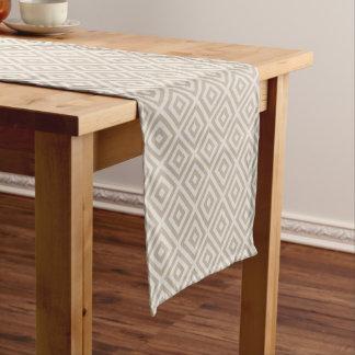 Farmhouse Diamond X Beige Linen Short Table Runner