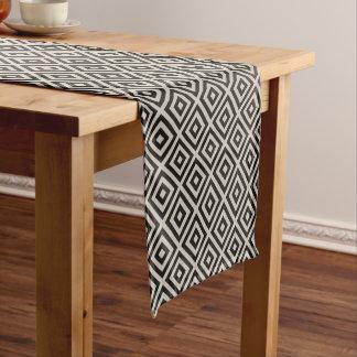 Farmhouse Diamond X Black Linen Short Table Runner