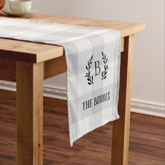 Farmhouse Gray Buffalo Check Family Monogram Short Table Runner