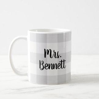 Farmhouse Gray Buffalo Check Mrs. Monogram Coffee Mug