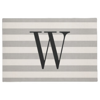 Farmhouse Gray Linen Stripes Monogram Doormat
