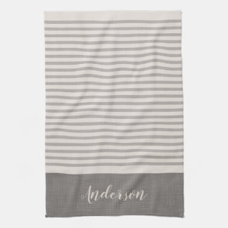 Farmhouse Gray Linen Stripes Monogram Tea Towel