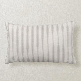 Farmhouse Gray Linen Ticking Stripes Lumbar Pillow