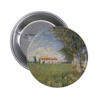 Farmhouse in a wheat field Button