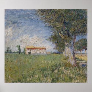 Farmhouse in a Wheat Field, Vincent Van Gogh Print