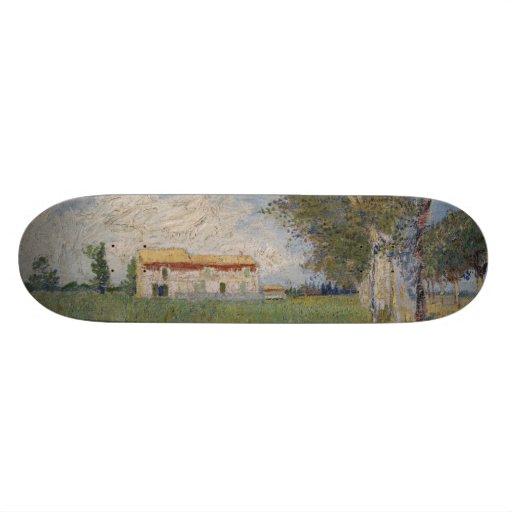 Farmhouse in a Wheatfield by Vincent Van Gogh Skate Board Deck