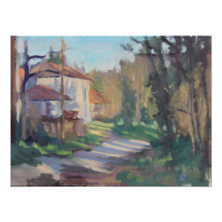 Farmhouse in evening light, painting poster