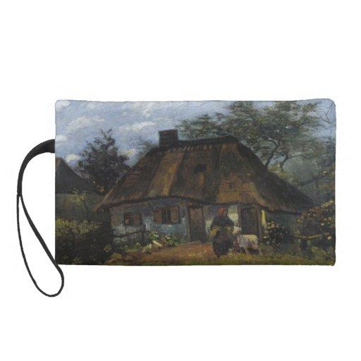 Farmhouse in Nuenen by Vincent Van Gogh Wristlet Purse