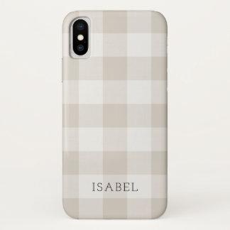 Farmhouse Linen Buffalo Check Monogram iPhone X Case