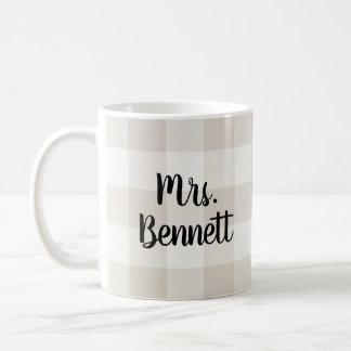 Farmhouse Linen Buffalo Check Mrs. Monogram Coffee Mug