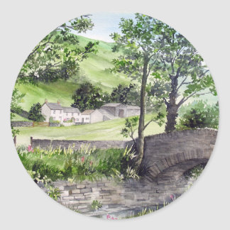 Farmhouse near Thirlmere, Lake District, England Classic Round Sticker