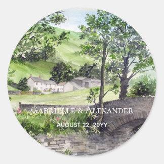 Farmhouse near Thirlmere Painting Wedding Classic Round Sticker