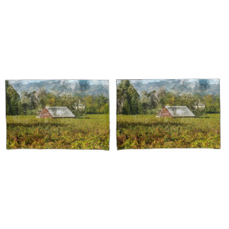 Farmhouse Red Barn in a Vineyard Pillowcase