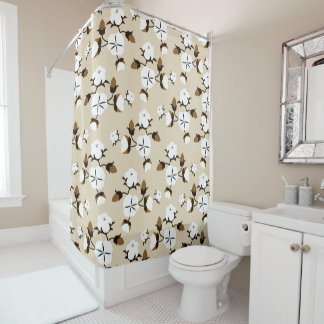 Farmhouse Rustic Country Cotton Flowers Shower Curtain
