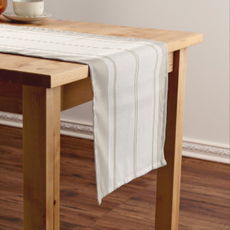 Farmhouse Rustic Country Taupe & White Stripe Short Table Runner