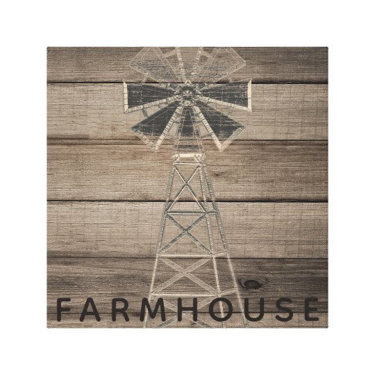 Farmhouse Rustic Weathered Wood Country Wind Mill Canvas Print