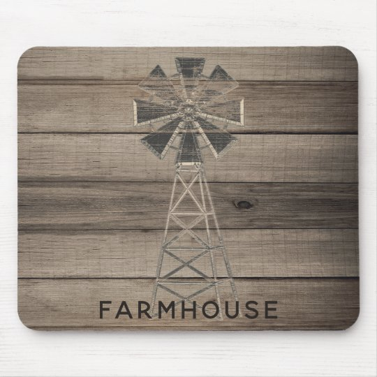 Farmhouse Rustic Weathered Wood Country Wind Mill Mouse Pad