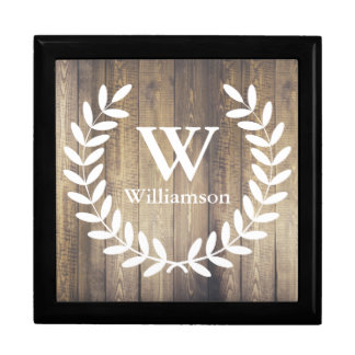 Farmhouse Rustic White Laurels Family Name Large Square Gift Box