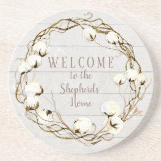 Farmhouse Shiplap Wood Twig Cotton Boll Wreath Coaster