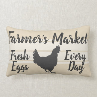 Farmhouse Style | Farmer's Market Fresh Eggs Hen Lumbar Cushion