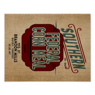 Farmhouse style Grain Feed Sack Reproduction Poster