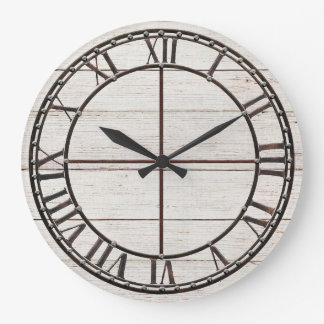 Farmhouse White Shiplap Wood Rustic Farm Art Large Clock