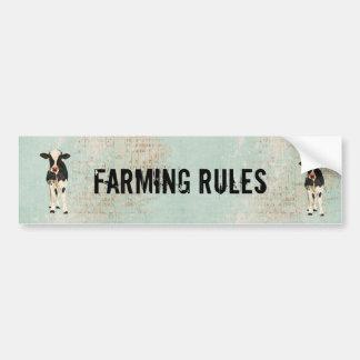 Farming Rules Cow Bumper Sticker Car Bumper Sticker