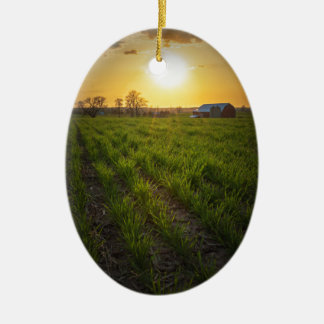 Farmland Sunset Ceramic Ornament