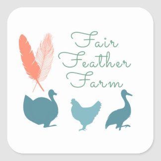 FarmTransparentFair Feather Farm Logo Square Sticker