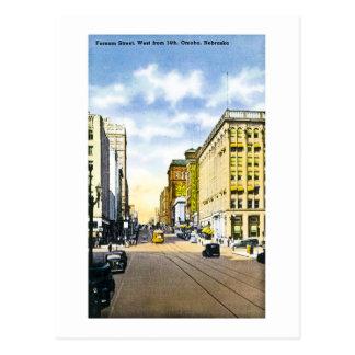 Farnam Street, West from 14th, Omaha, Nebraska Postcard