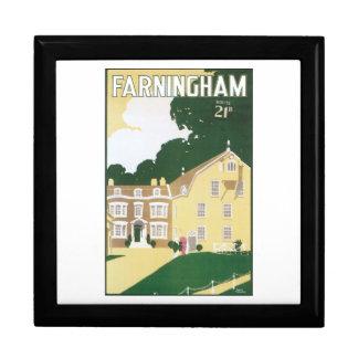 Farningham Vintage Travel Poster Large Square Gift Box