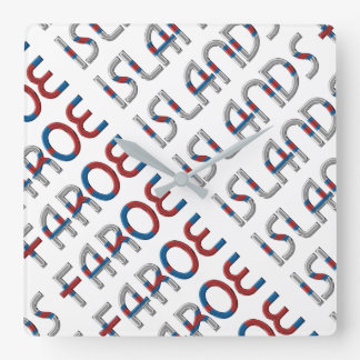 Faroe Islands Denmark Flag Colors Typography Square Wall Clock