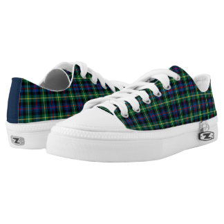Farquharson Clan Blue and Green Tartan Canvas Low Tops