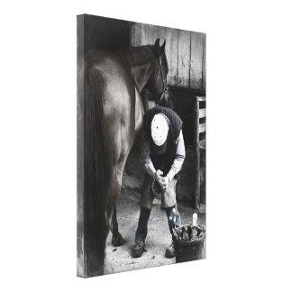 Farrier at Work - Desaturated Daguerrotype Canvas Print