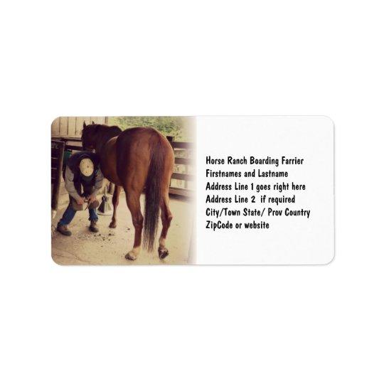 Farrier - Beautiful Horse Photo Hoof Trim Label