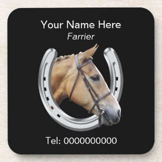 Farrier horse and horseshoe drink coaster