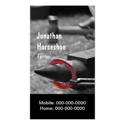 Farrier hot horseshoeing business card
