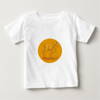 Farrier Placing Shoe on Horse Hoof Circle Drawing Baby T-Shirt