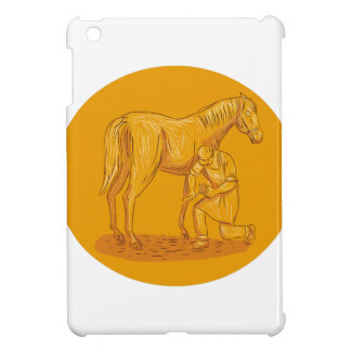 Farrier Placing Shoe on Horse Hoof Circle Drawing iPad Mini Cases