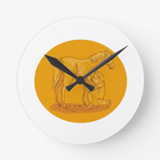 Farrier Placing Shoe on Horse Hoof Circle Drawing Round Clock