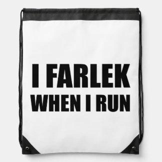 Fartlek When Run Black Drawstring Bag