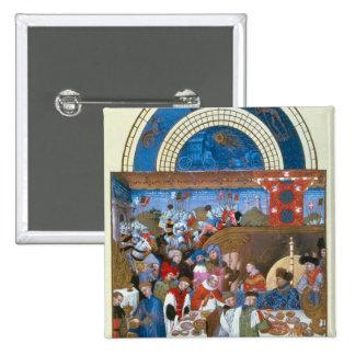 Fascimile of January: banquet scene 15 Cm Square Badge