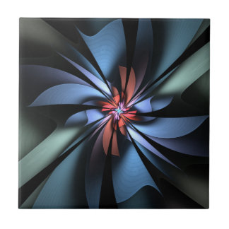 Fascination Blue and Green Abstract Small Square Tile