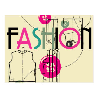 Fashion and Button and Thread Postcard