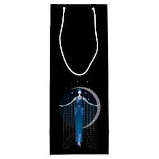 Fashion art deco elegant stylish illustration wine gift bag